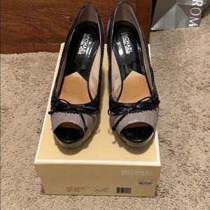 Michael Kors Black/Gray Platform Open Toe Heels